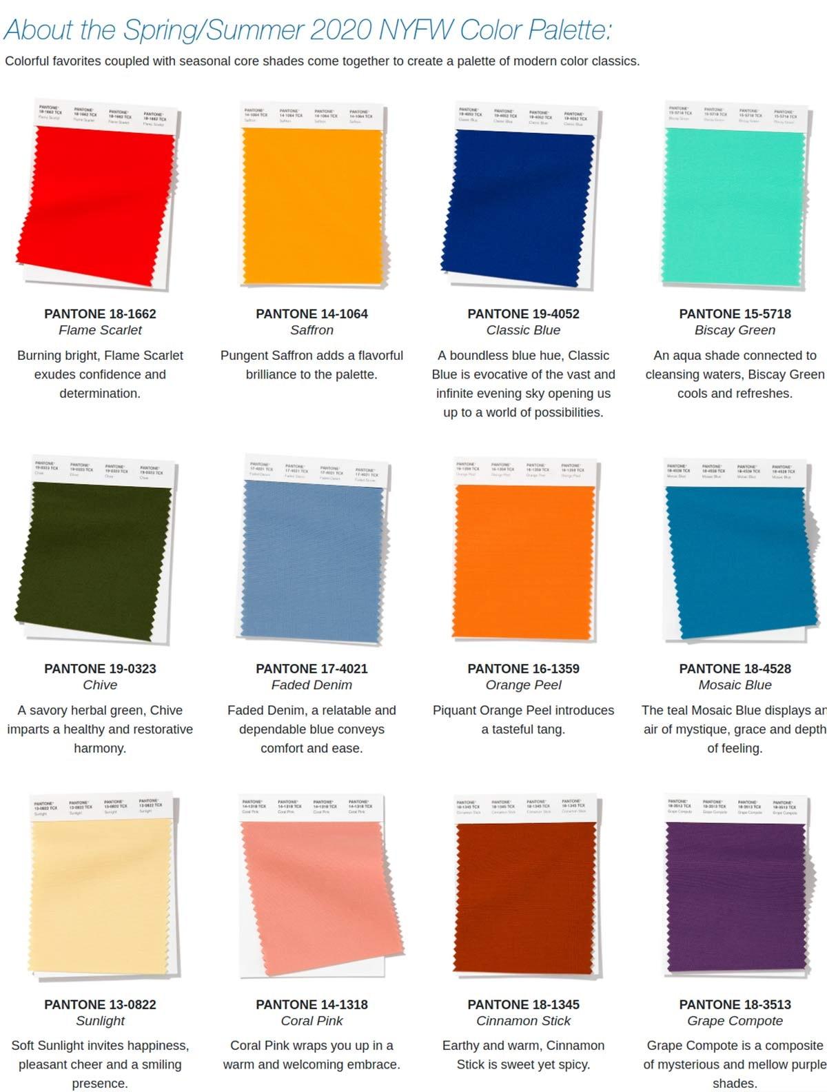Repéré sur les podiums: les couleurs mode du printemps-été 2020 selon Pantone