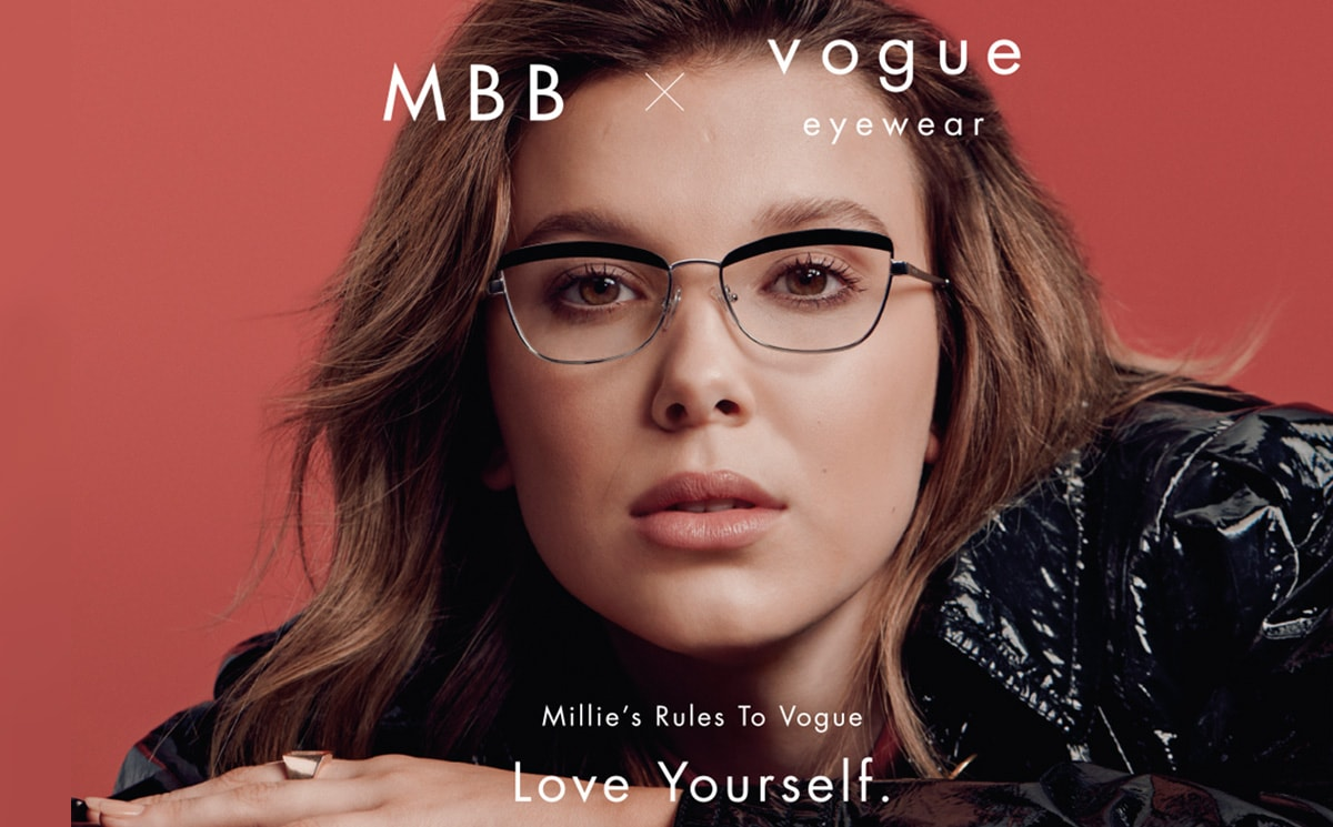 Vogue Eyewear présente une collection avec Millie Bobby Brown